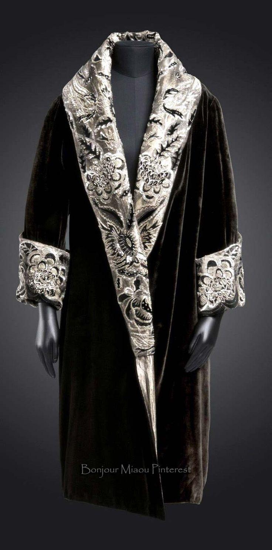 Coat, Anart, Paris, ca. 1923-28. Black silk velvet; metallic thread and cotton twill (lamè); rayon embroidery in chain stitch; silk velvet appliqués; beads and sequins. Philadelphia Museum of Art