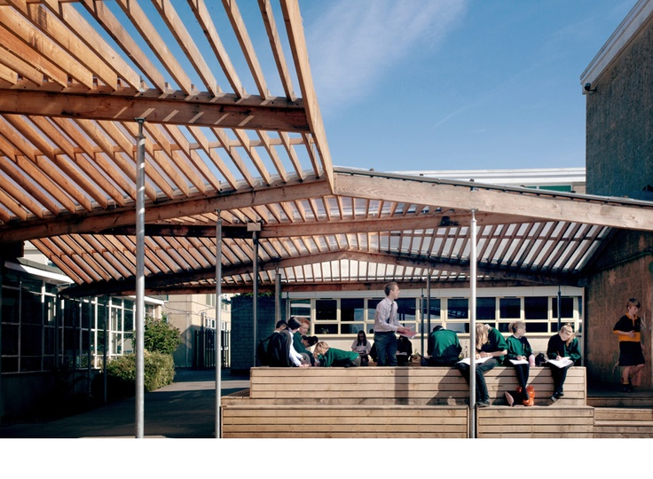 School Larch Canopy and External Classroom - Feilden Fowles Architects    Architecture  Design  Contemporary  Structure  Timber  Canopy  Larch  Outdoor  Shelter  School  Bath  Commonspace  Communal  Social  Secondary  Academy