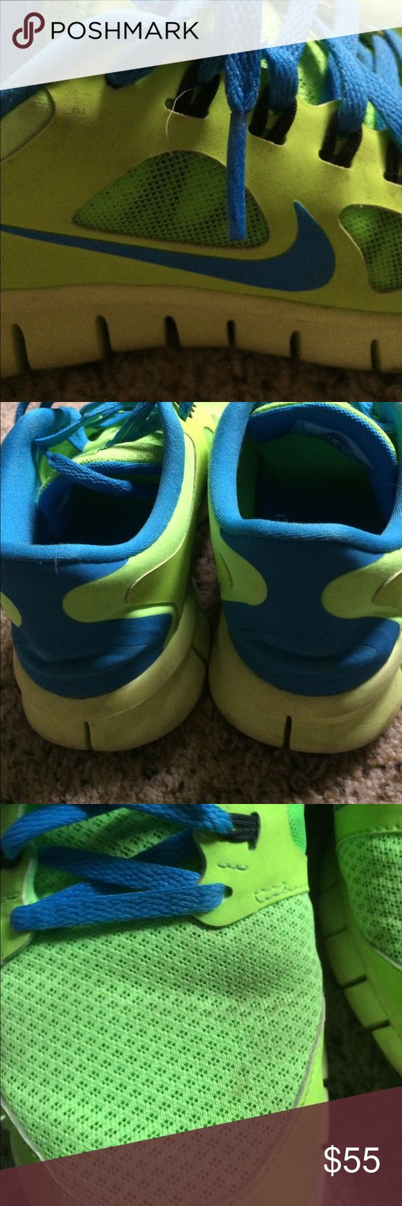 Nike Neon Running Shoes Neon Green and Turquoise Nike  youth size 6 (womens 7.5) slightly used, just that one spot as pictured. Great running shoes, just looking to downsize my collection Nike Shoes Sneakers