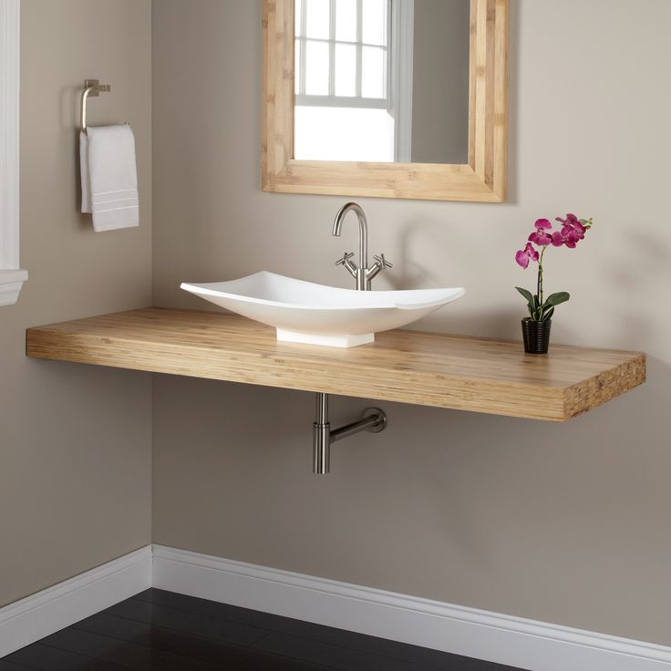 61 bamboo wall mount vanity top for vessel sink