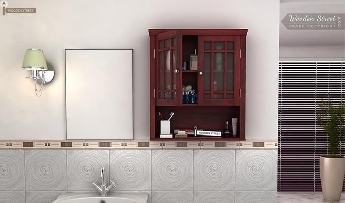 Buy Carney Bathroom Cabinet Mahogany Finish Online In India