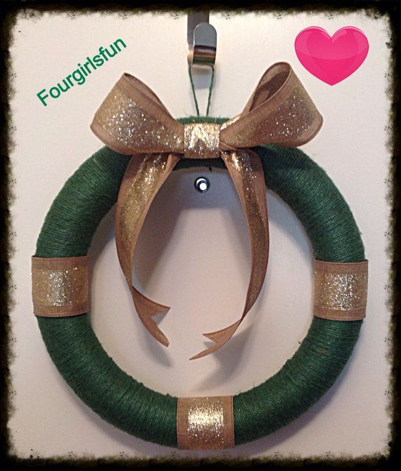 Jute twine wreath -- Green and gold wreath -- home decor -- front door wreath- Christmas Wreath - USF colors by fourgirlsfun. Explore more products on http://fourgirlsfun.etsy.com