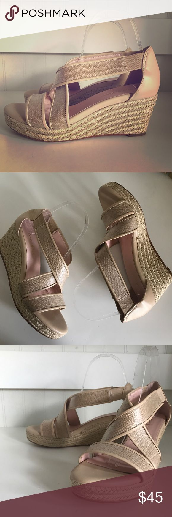 """Taryn Rose nude platform wedge sandals Amazing Taryn Rose jute platform wedges. 2.5"""" heel with .5"""" platform. Leather. Only worn once! These are 1/2 size too big for me :( Taryn Rose Shoes Wedges"""