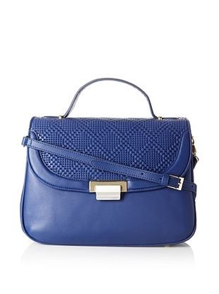Koret Women's Perforated Leather Half Flap Satchel, Sky Blue, One Size