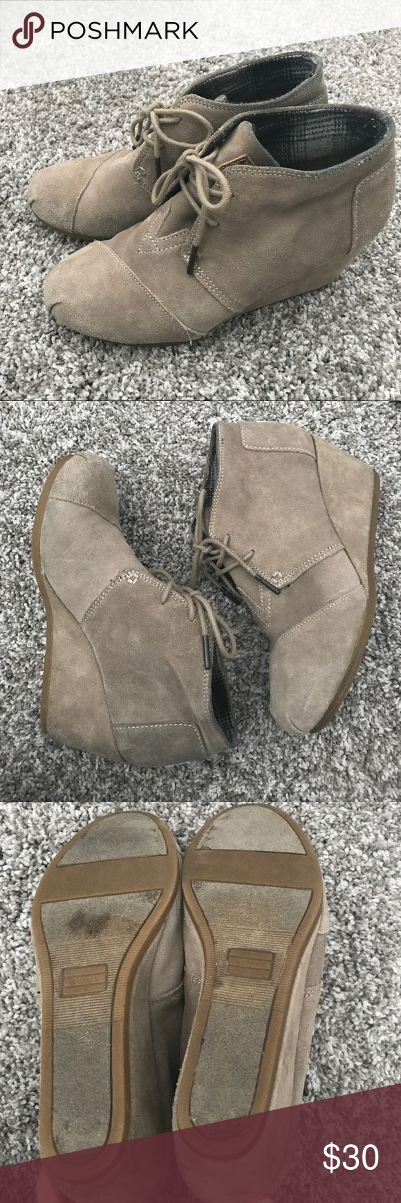 Tom wedge booties Tom wedge booties - great used condition - size 7 Toms Shoes Wedges