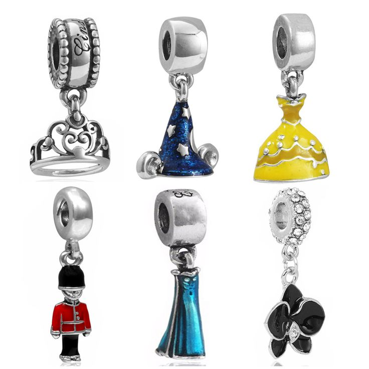 Eccosa Silver Plated Perles Mickey Sorcerer's Hat Crown Charm Bead Fits Original Pandora Charms Bracelet Best Berloque Gifts