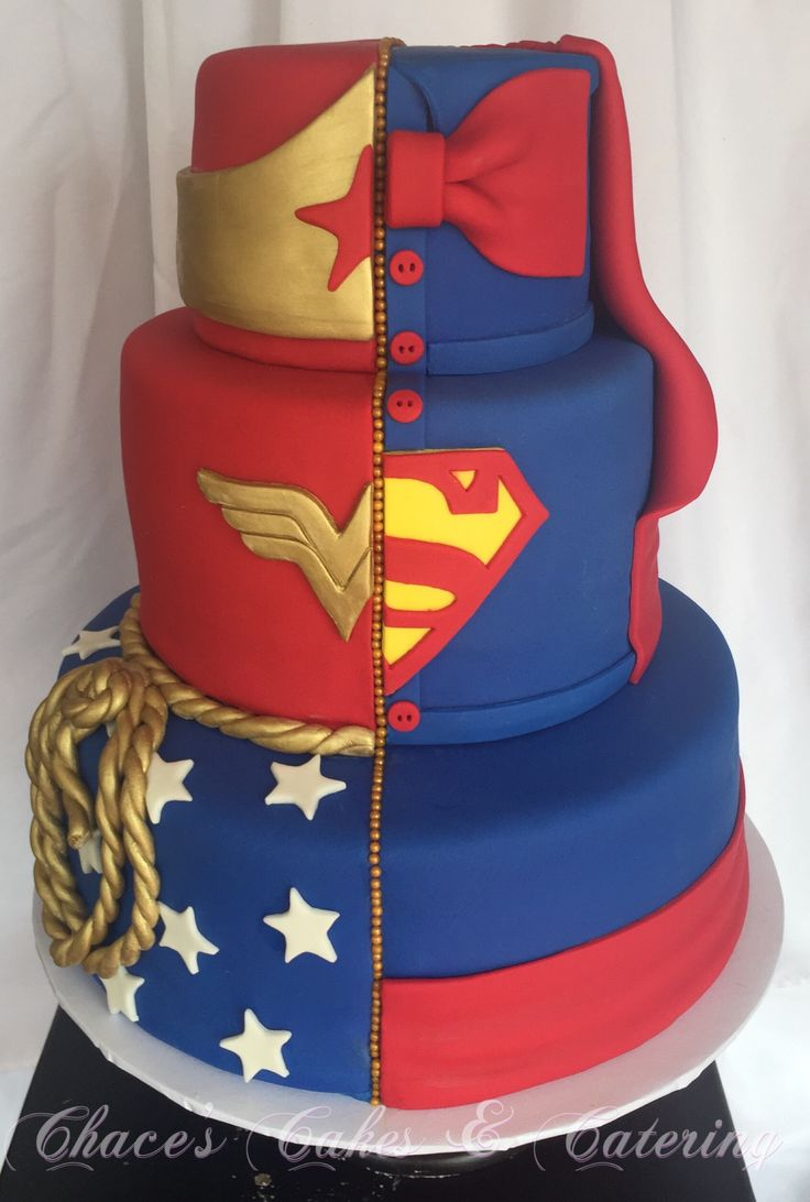 1/2 Wonder Woman 1/2 Superman Wedding Cake...  https://www.facebook.com/Chacescakes