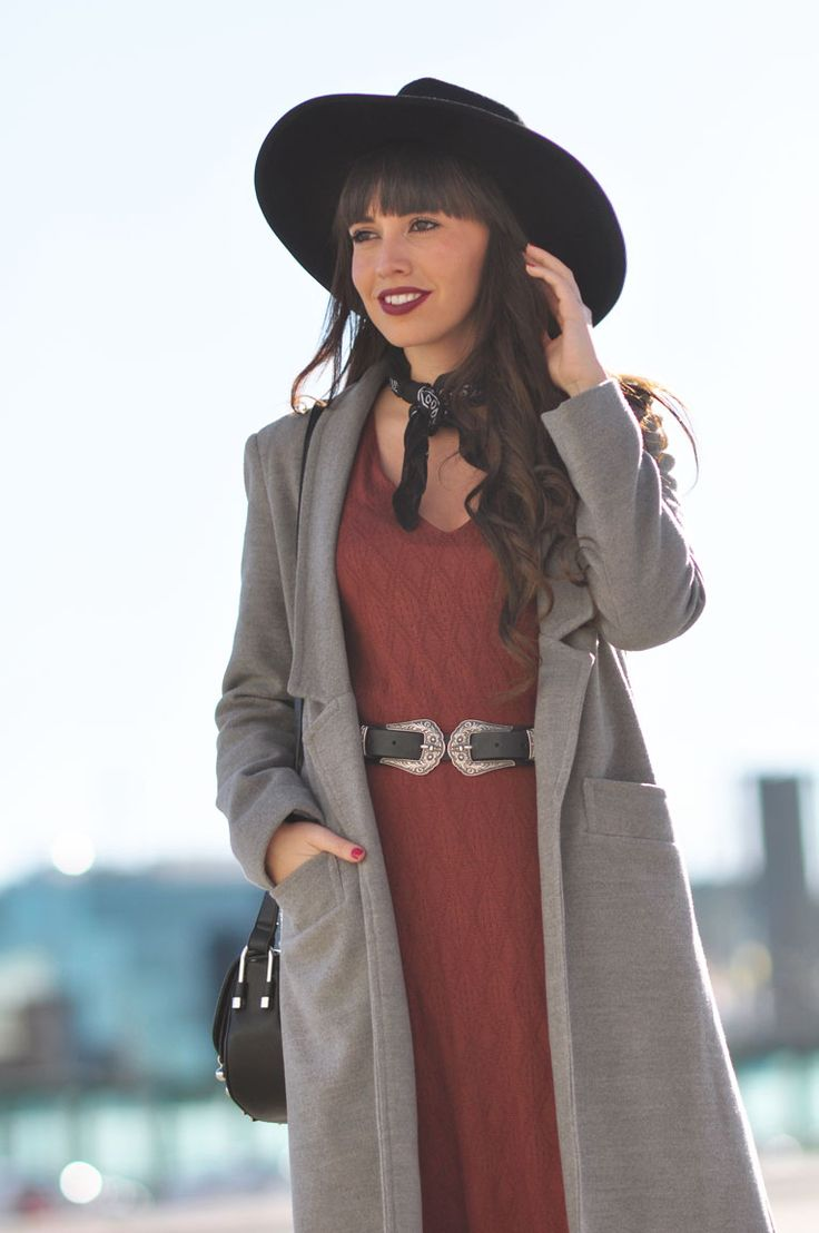 Street style, boho style, midi dress, long coat, black hat #kissmylook