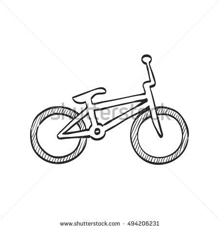 BMX bicycle icon in doodle sketch lines. Sport race park play tricks jump kids