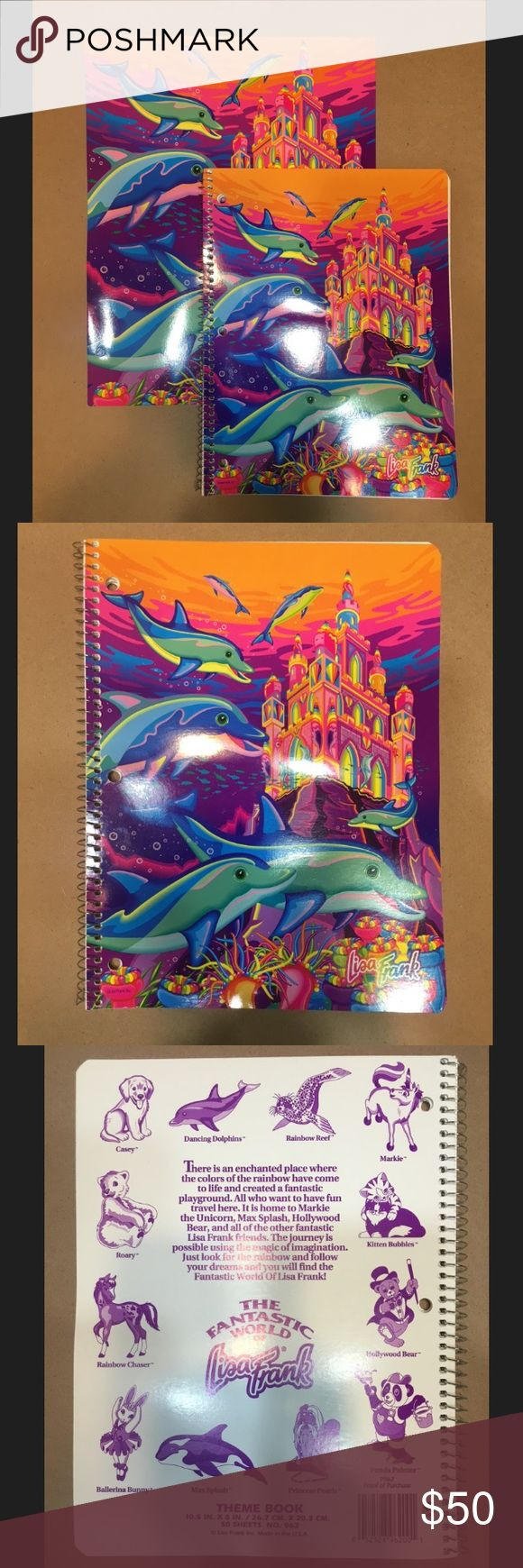 🐬 RARE🐬 Vintage Lisa Frank Dolphin Bundle Set of 90's Lisa Frank, dancing dolphin folder and notebook. These are in excellent condition and have never been used. The dancing dolphin print with the castle is a very rare Lisa Frank print and is no longer in production. Accessories