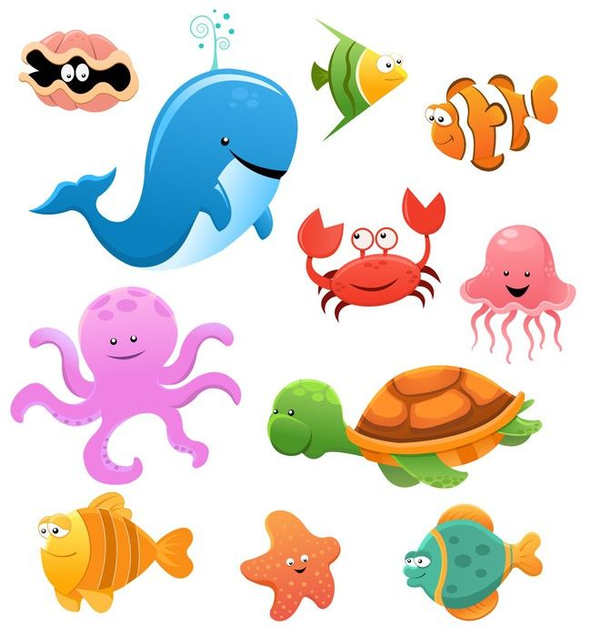 Sea Animal Set Wall Mural Pixers We Live To Change Cartoon Sea Animals Marine Animals Sea Animals