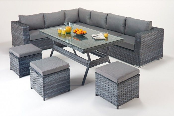 The Platinum Table Corner Sofa consists of a large corner sofa made from three modular two-seater sofas, a 6mm thick glass-topped dining table and three footstools. It comes with thick seat cushions and pillow style back cushions for added comfort. The Table Corner Sofa set is one of the most versatile models available, combining sofa seating and dining in one.  https://www.furn-on.com/platinum-grey-garden-corner-dining-set-left.html