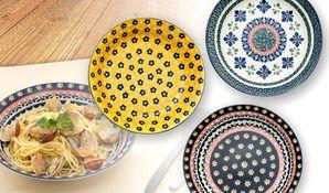 【送料無料】ポーリッシュポタリー調の可愛いお皿《ポルスカスタイル パスタ&カレー皿 3柄組》温もりのある愛らしいデザインと、電子レンジも使用できる手軽さが大人気