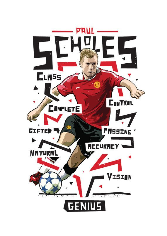 Paul Scholes Manchester United Print 2 by KieranCarrollDesign                                                                                                                                                     More