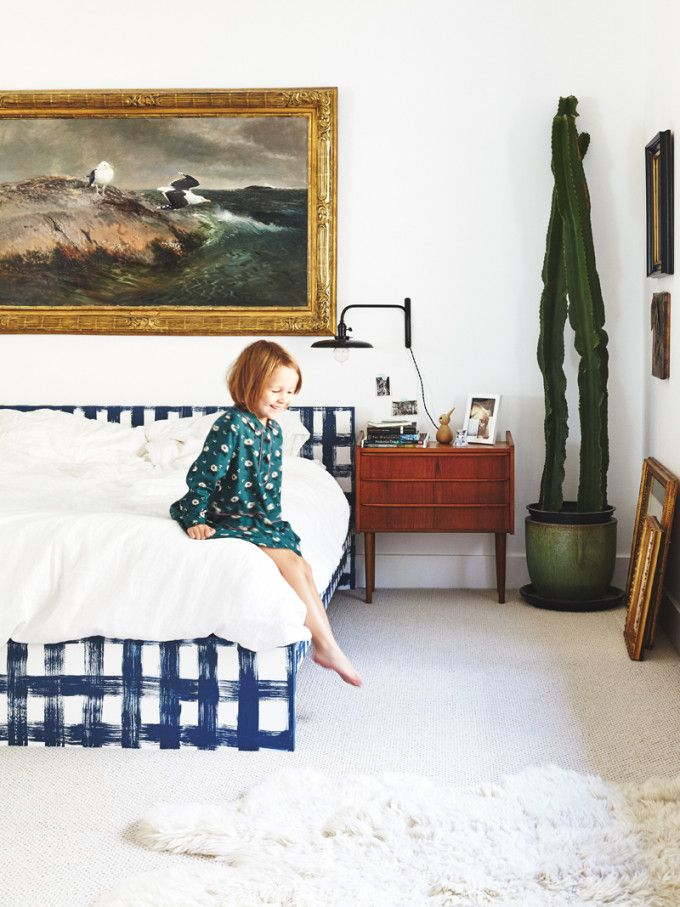 what a great vintage mix in this bedroom... love the brushed gingham bed and art.  Utah Family Home Tour