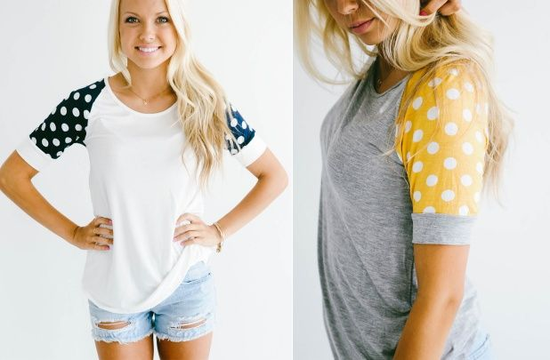 Polka Dot Baseball Tees for $16.99... I'm going to have to figure out how to make one of these for myself!