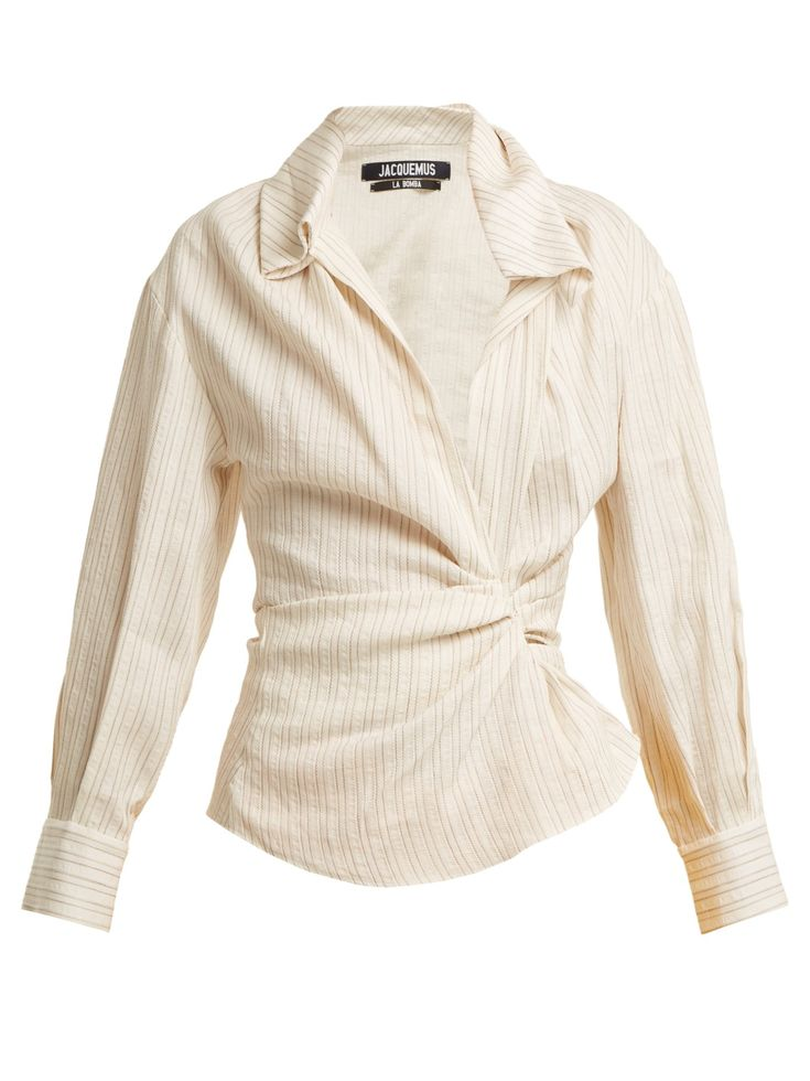 Click here to buy Jacquemus Striped twist-front linen and cotton-blend shirt at MATCHESFASHION.COM