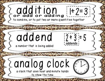 First Grade Common Core Math Vocabulary Word Cards - Leopard/Cheetah Print  This set includes 90 math vocabulary word cards!  Use them on your math focus wall, word wall, or as flashcards!