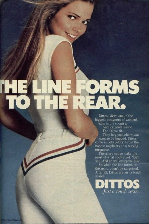1970s Dittos jeans advertisement. Nothing like a subtle arrow to draw the eye down...
