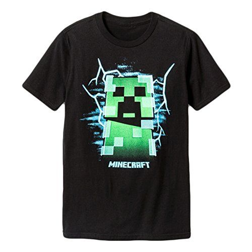 dfe5c137 Mojang Minecraft Charged Creeper Graphic Polyester T-Shirt for Boys (Black,  X-Small)