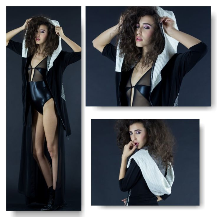 Black bodysuit  Price: 200 RON Chiffon long vest Price: 200 RON Sport dress with white hood Price: 350 RON