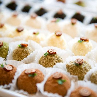 These traditional Korean wedding cakes have been modernized into small desserts for the wedding guests to enjoy at their own pace at the reception