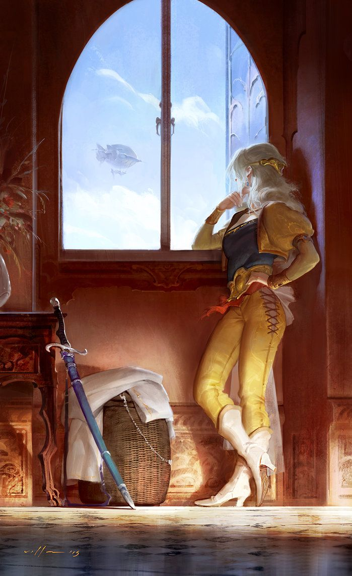 Celes looking at the Blackjack by zano, Final Fantasy VI, #fanart #digital #painting, art, inspirational art, girl by the window, cute, sky, steampunk, fantasy, gaming