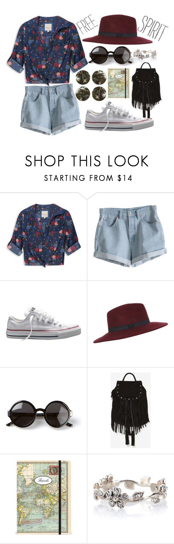 Free Spirit by jessamy48 on Polyvore featuring moda, Forever 21, MTWTFSS Weekday, Converse, Maison Scotch, Accessorize, Miss Selfridge, The Row, Boho & Co and Cavallini & Co.