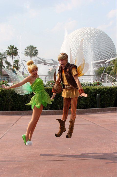 awfulsweet: Best friends Tink and Terence in flight at WDW Epcot