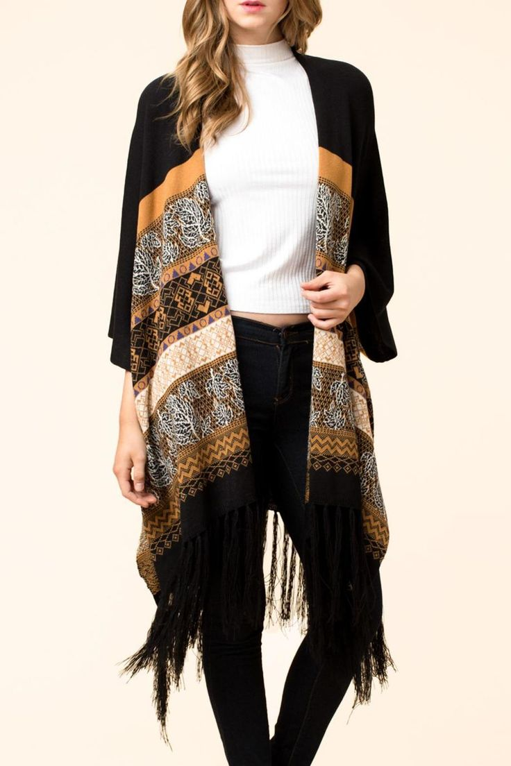 Camel multi colored cardigan sweater with fringe. Beautiful soft feel to this sweater andcolors are very deep.   Camel Cardigan by HYFVE. Clothing - Sweaters - Cardigans Cleveland, Ohio
