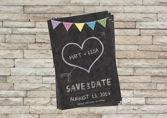 Save the Date - Blackboard or Chalkboard with Bunting on Etsy