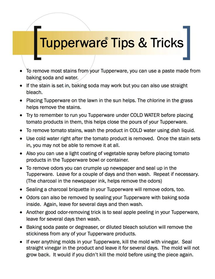 Ever have trouble getting your Tupperware clean? Here's some helpful tips and tricks. Remember, Tupperware has a lifetime warranty. Does your item quality for a free replacement? Email me at bobbilovesben@yahoo.com to find out. Ready to shop? Order online at BOBBIORMOND.my.tupperware.com