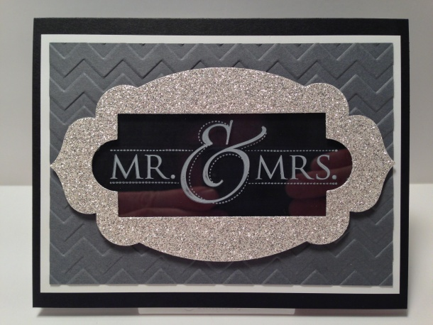 Stampin' Up!, Stylin' Stampin Squad Blog Hop Wedding Card, Mr. & Mrs., Apothecary Accents Framelits, Chevron Embossing Folder, Window Sheets, Silver Glimmer Paper
