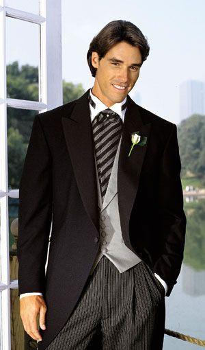 Black Cutaway morning tuxedo. See more classic styles at http://www.facebook.com/FLOWFormalWear