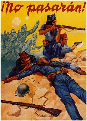 Republican poster from the Spanish Civil War, with Dolores Ibárruri slogan