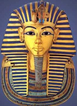 The famous funerary mask of Tutankhamun in Gold, semiprecious stones, quartz and glass paste