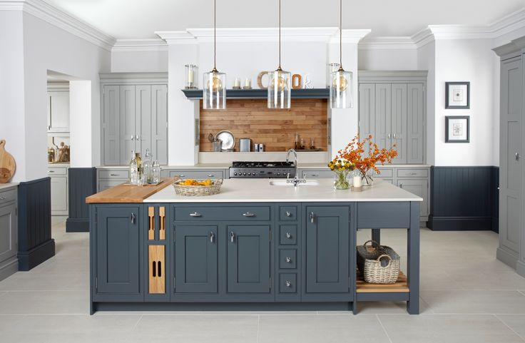 Burbidge's Langton Kitchen painted in Gravel and Seal Grey - Larder and Island