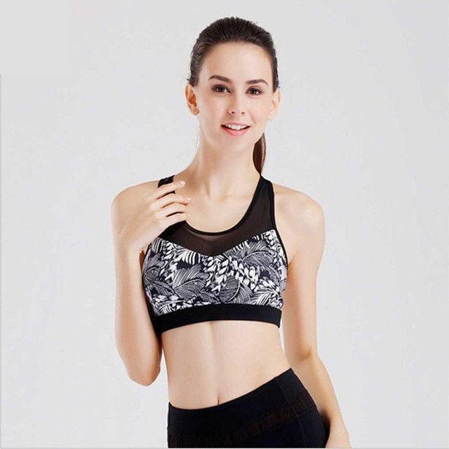 Quality Women's Print Anti-Sweat Sport Bra Padded Shake Proof Gym Fitness Underwear Mesh Stitching Running Bra Elastic Yoga Bra