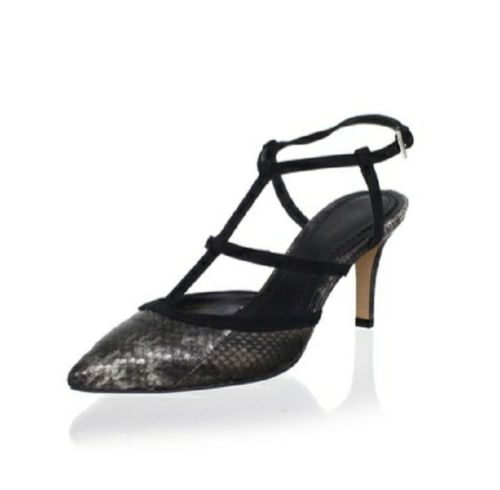 Pour La Victoire Halter Pump Size 10 Retail $240.00 Sale $139.00. Pour La Victoire Olivier offers a stylized take on the classic pump. Sassy snake-embossed pewter metallic leather upper detailed with black suede caged straps. Contrasting suede trim and straps across vamp and halter ankle. Another fantastic pump from Pour La Victoire.