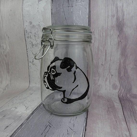 Boxer hand painted glass jar Dog biscuit jar Dog gift Dog