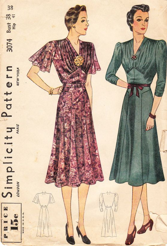 Vintage Sewing Patterns 1930s Dresses Red Pink Floral