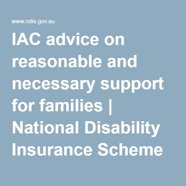 IAC advice on reasonable and necessary support for families | National Disability Insurance Scheme