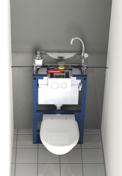 Transparent view of a WiCi Next compact hand wash basin integrated to a Geberit wall-mounted WC
