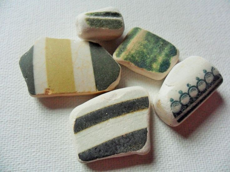 Green and cream sea pottery - 5 Lovely English beach finds from Lancashire NW England by UKSeaGlassStore on Etsy