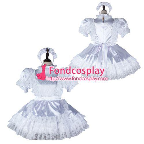 Sissy maid satin dress lockable Uniform cosplay costume Tailor-made[G2358]