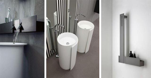 Przyciągające wzrok krany i umywalki w łazience w nowoczesnym stylu