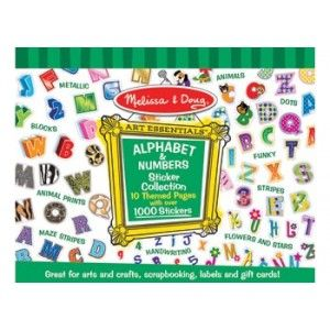 Melissa and Doug - Alphabet & Numbers Sticker Collection: Add pizazz to scrapbooks, posters, cards and school projects with this fabulous collection of alphabet and number stickers.  Aspiring graphic designers will enjoy using the more than a dozen different alphabets and over 1000 stickers to enhance and personalise any craft project! #alltotstreasures #artsandcraft #alphabetstickers #finemotorskills #numberstickers
