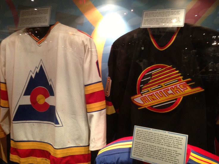 Colorado Rockies and Vancouver Canucks jerseys at the Hockey Hall of Fame.