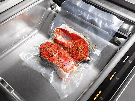 The Miele EVS 6114 built-in Sous Vide Vacuum Sealing Drawer offers gourmet versatility, including portioning, marinating, slow cooking and re-sealing