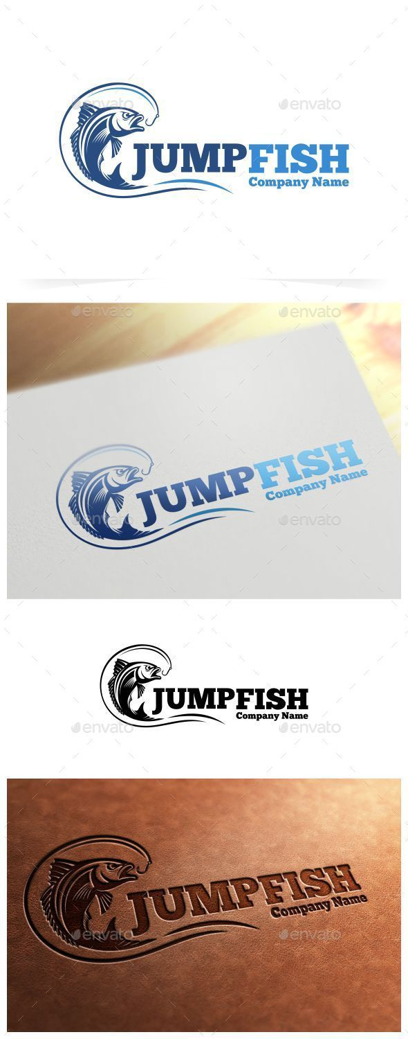Jump Fish Logo Template — Vector EPS #vector #river • Available here → https://graphicriver.net/item/jump-fish-logo-template/9136153?ref=pxcr